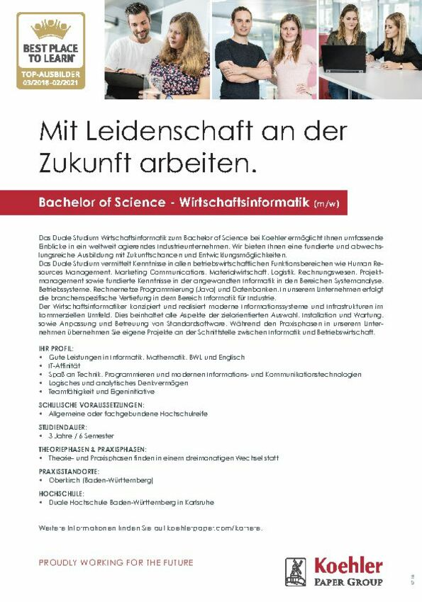 Duales Studium Bachelor of Science - Wirtschaftsinformatik (m/w)