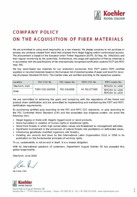 COMPANY POLICY ON THE ACQUISITION OF FIBER MATERIALS
