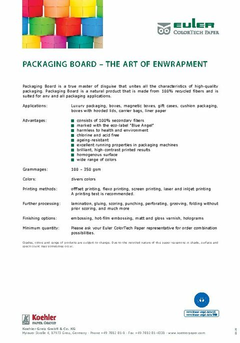 Product data sheet PACKAGING BOARD