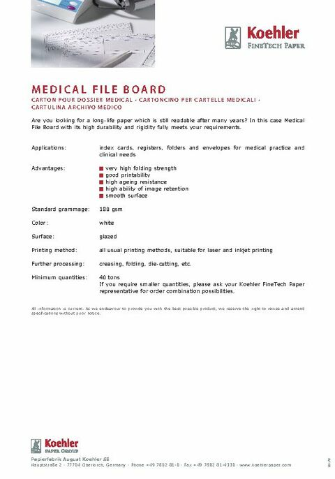 Product Data Sheet MEDICAL FILE BOARD