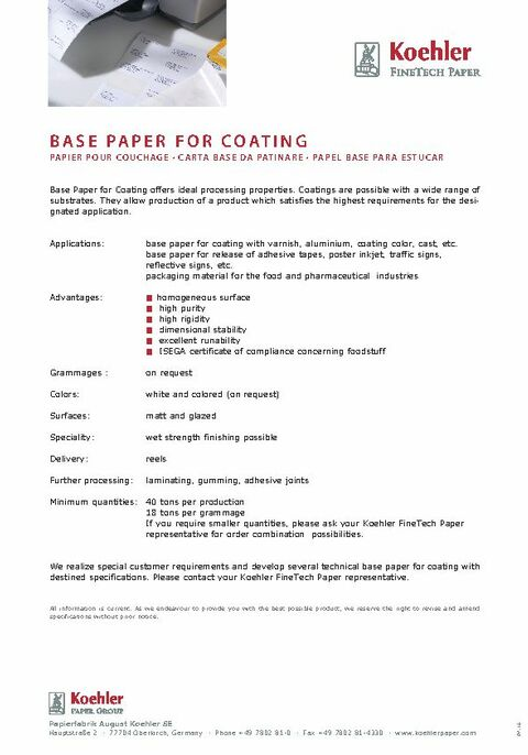 Product Data Sheet BASE PAPER FOR COATING