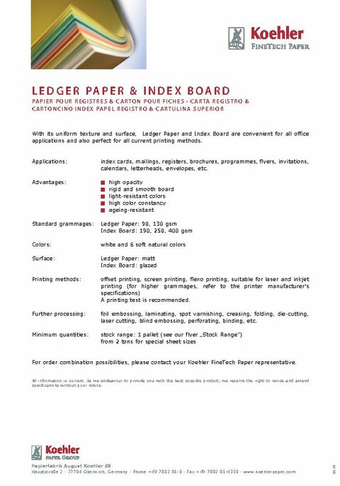 Product Data Sheet LEDGER PAPER & INDEX BOARD