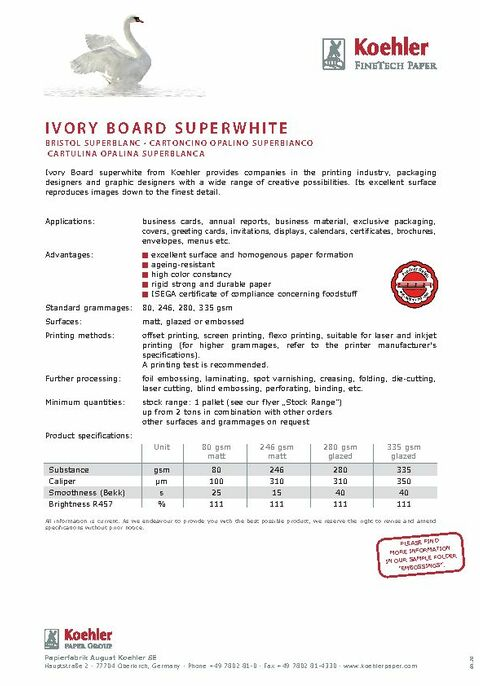 Product Data Sheet Ivory Board Superwhite