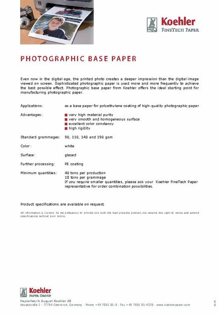 Data Sheet PHOTOGRAPHIC BASE PAPER