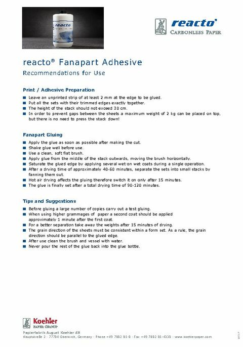 reacto® Fanapart Adhesive Recommendations for Use