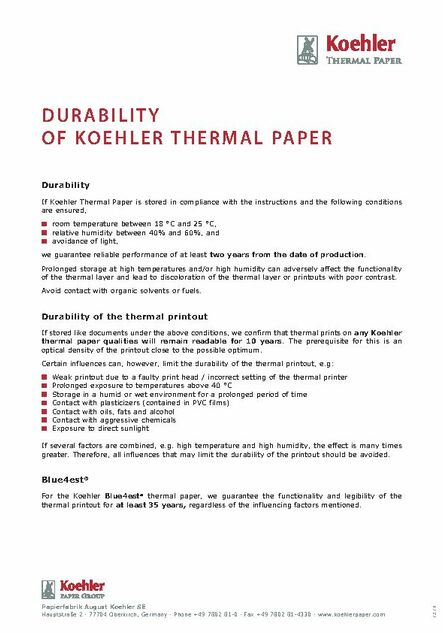 Image Stability of Thermal Paper